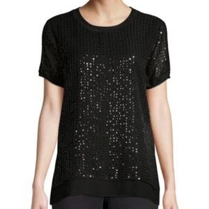 NWT Donna Karan Sequin Short Sleeve Tee (sz m,blk)